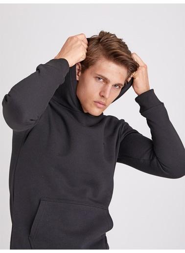 Dufy Düz Kapüşonlu Erkek Sweatshirt - Regular Fit Siyah